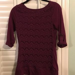 Maurices xs purple front lace top